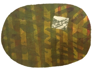 Collograph with solar plate of my aerial of a field that spelled L-O-V-E